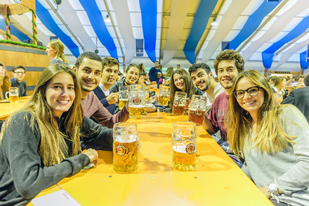Group of friends in the Oktoberfest 2016 (Barcelona, Spain)